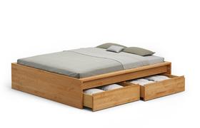 Bett mit Stauraum - Kirschbaum massiv