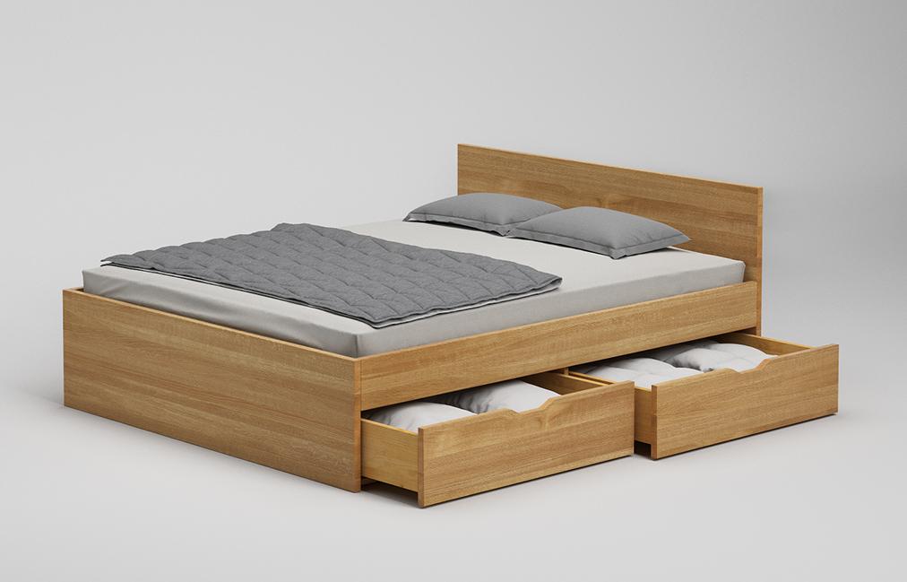 B21 Sk Bett Mit Schubkasten Und Kopfteil Aus Eiche Massiv Frohraum