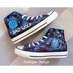 336dbb00308b Doctor Who Bad Wolf Custom Painted Converse Shoes
