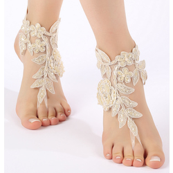 3c7e63ee3 Free ship champagne ivory white Barefoot Sandals