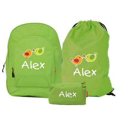 Junior backpack , gym bag and pencil case with name