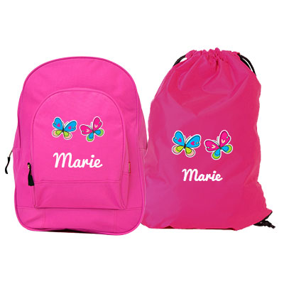 Junior backpack and gym bag with name and picture