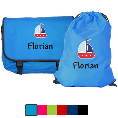 Messengerbag and gym bag with name and picture