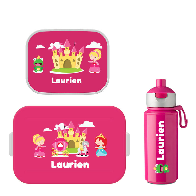 Mepal to go lunchbox midi (4 sneden brood) , fruitbakje en popup drinkfles met naam 0,25l.