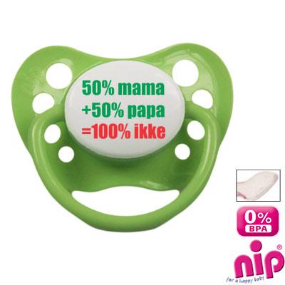 Fopspeen '50%mama+50%papa=100% ikke'