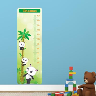 Groeimeter met naam - Panda 150cm