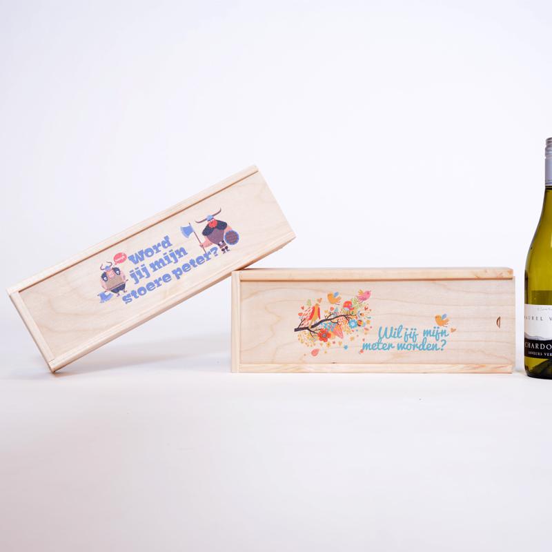 Coffret pour vin imprimé avec un nom ou un texte ( 1bouteille)