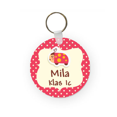 Key chain with name (round)