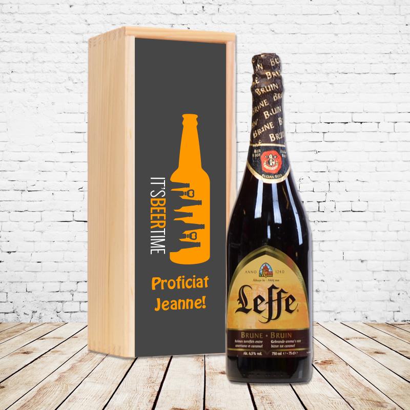 Gepersonaliseerd bierpakket met Leffe Bruin