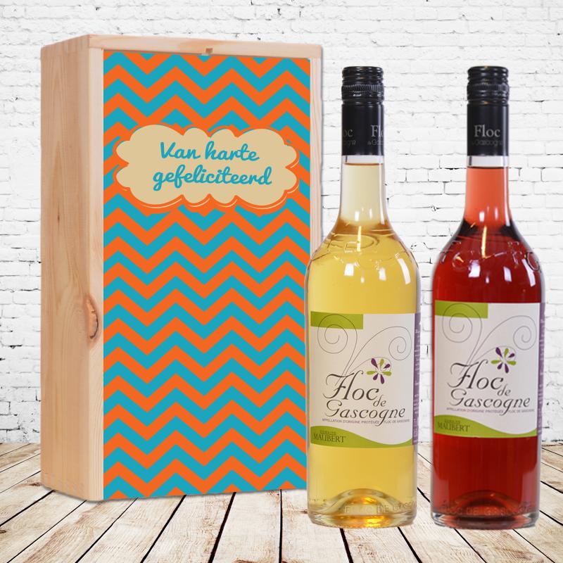 Gepersonaliseerd wijnpakket Floc de Gascogne Wit & Rood