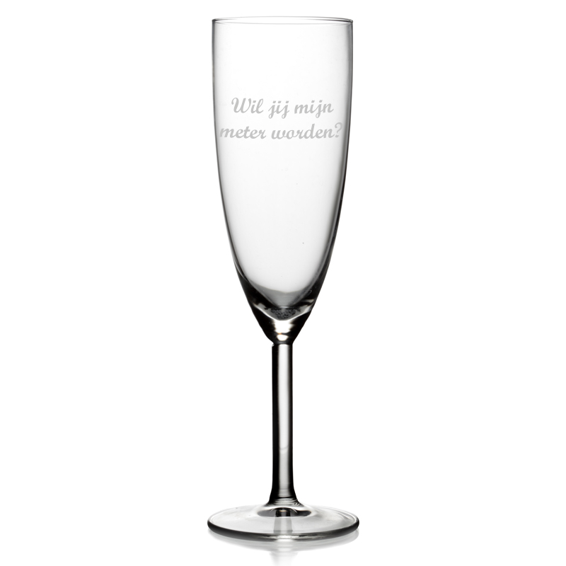 Champagneglas met tekst - Wil jij mijn meter worden?
