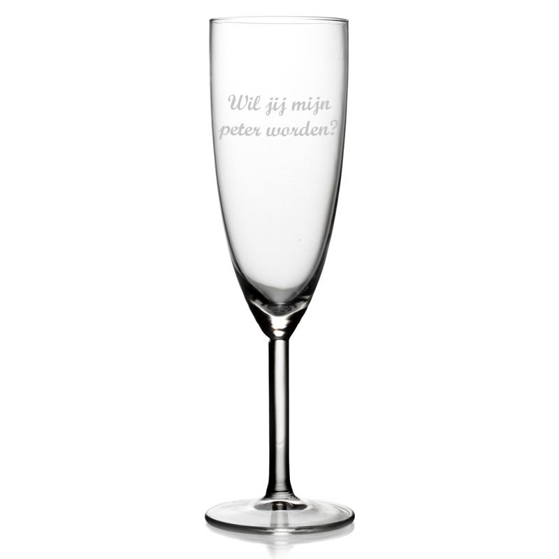 Champagneglas met tekst - Wil jij mijn peter worden?