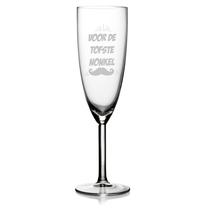 Champagneglas met tekst - Voor de tofste nonkel