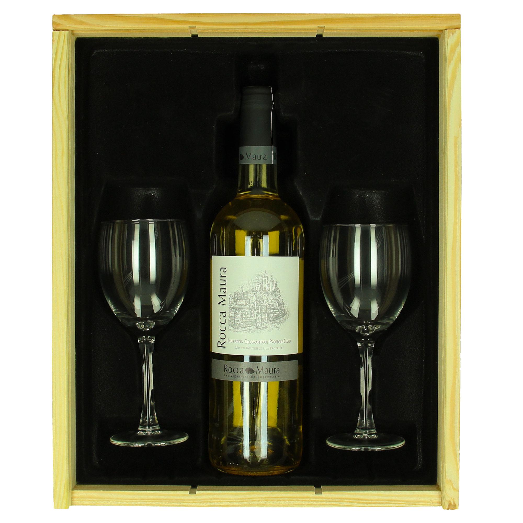 Coffret de vin Rocca Maura (blanc) + verres personnalisés