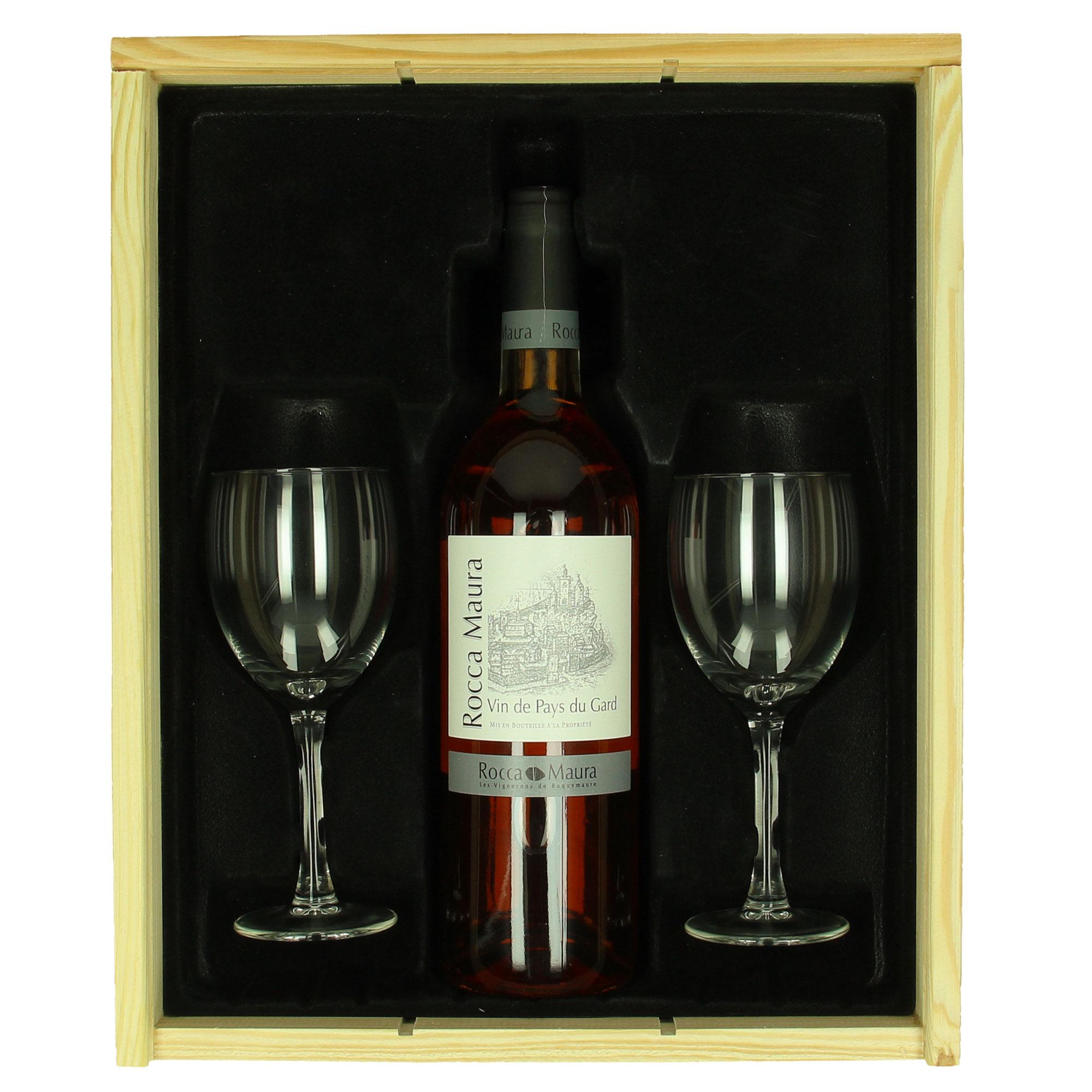 Coffret de vin Chiaretto (rosé) + verres personnalisés