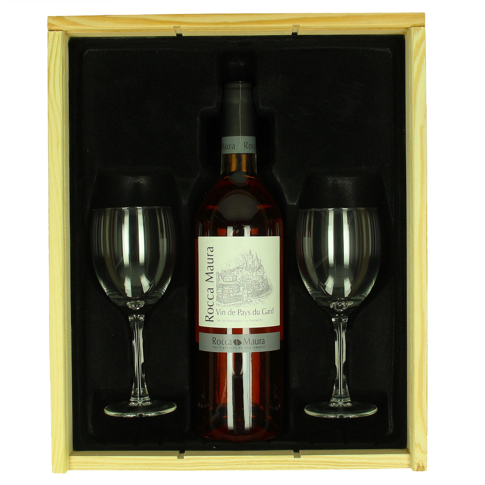 Coffret de vin Rocca Maura (rosé) + verres personnalisés