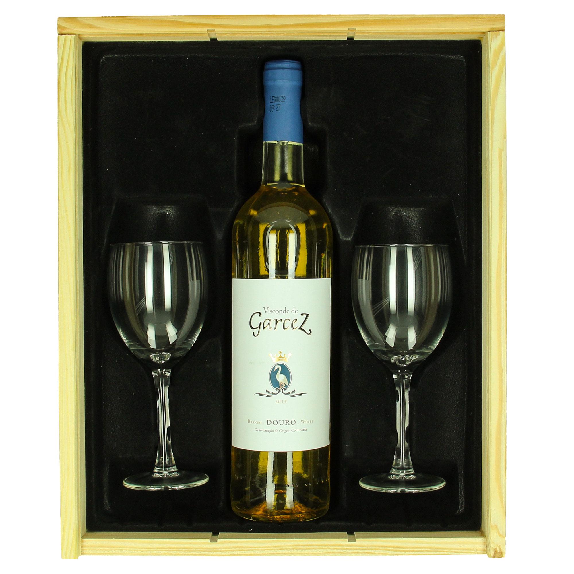 Wijnpakket Viscondez de Garcez (wit) + gepersonaliseerde glazen
