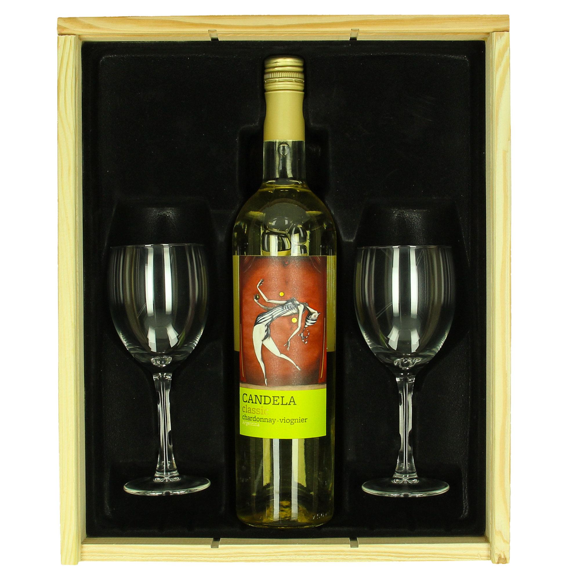 Coffret de vin Candela Chardonnay / Viognier + verres personnalisés