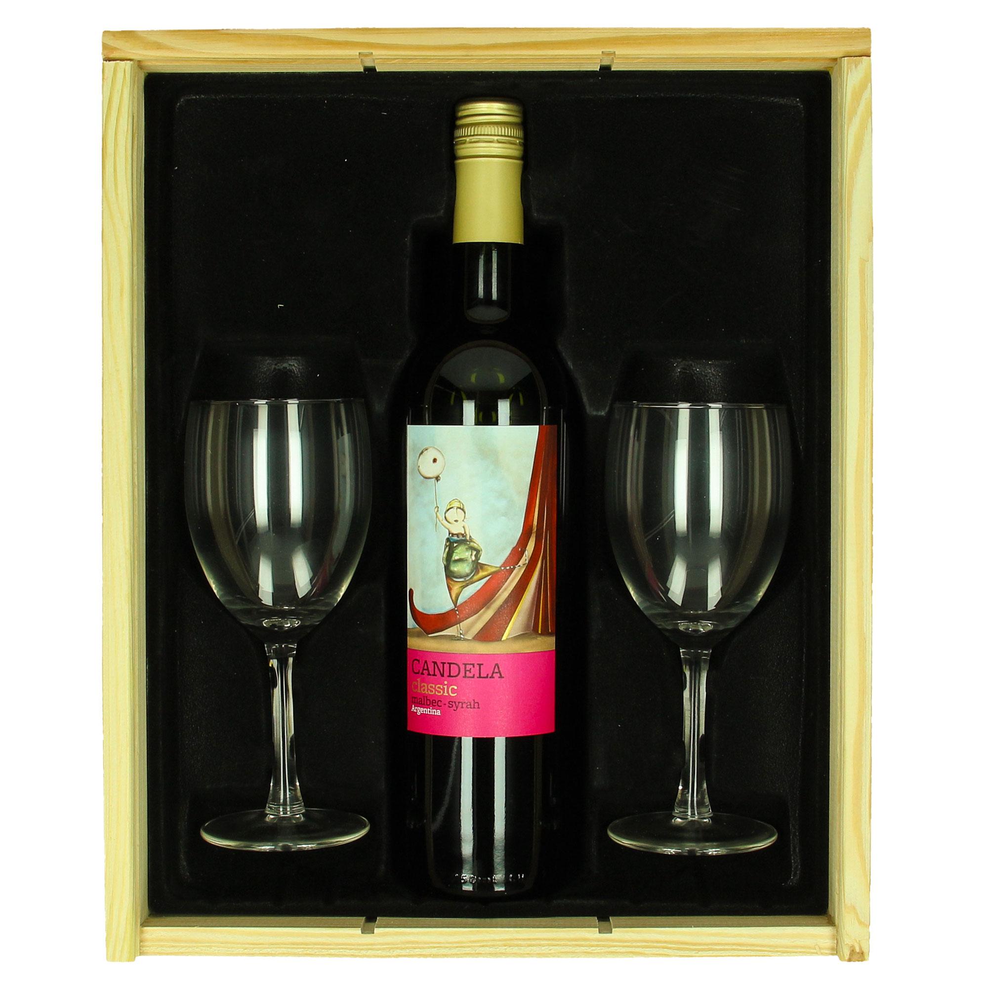 Coffret de vin Candela Malbec + verres personnalisés