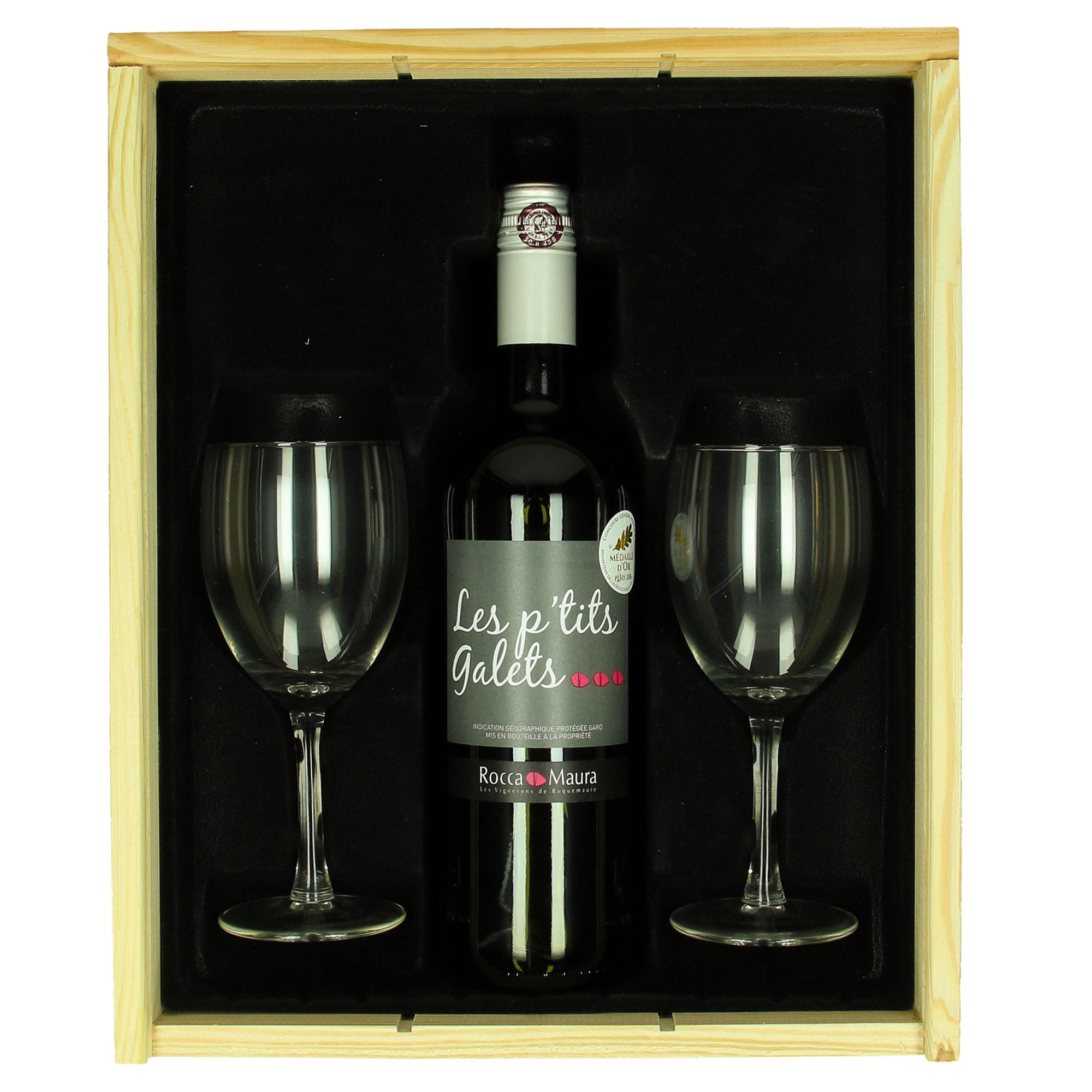 Coffret de vin Rocca Maura (rouge) + verres personnalisés