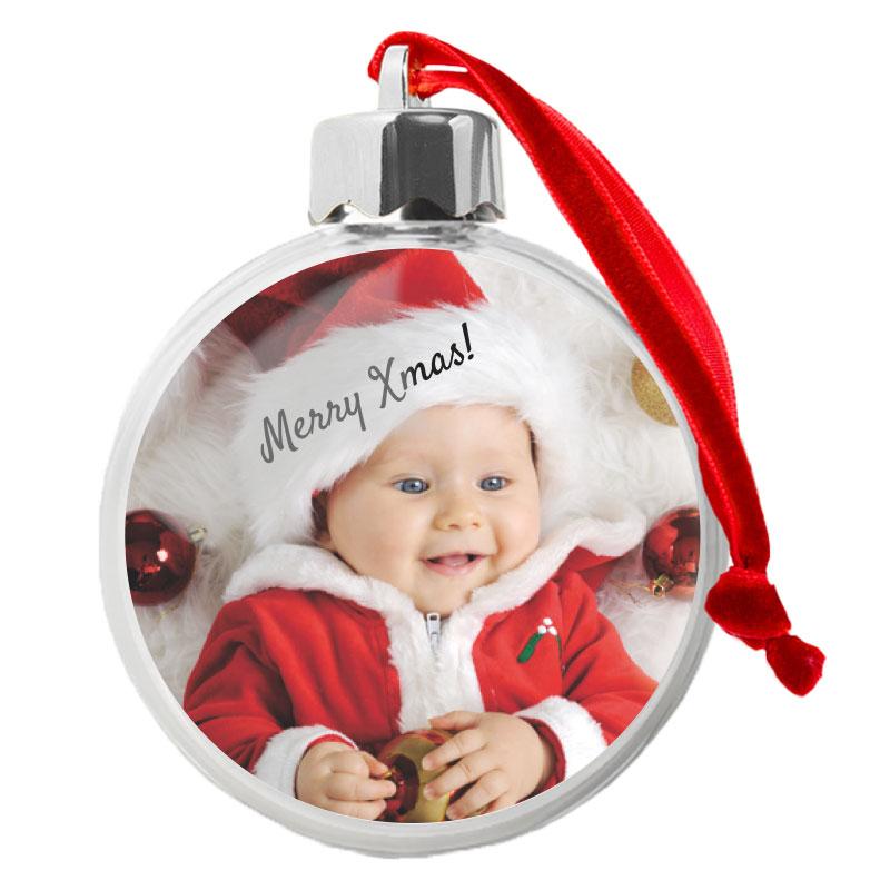 Doorzichtige kerstbal met naam en/of foto