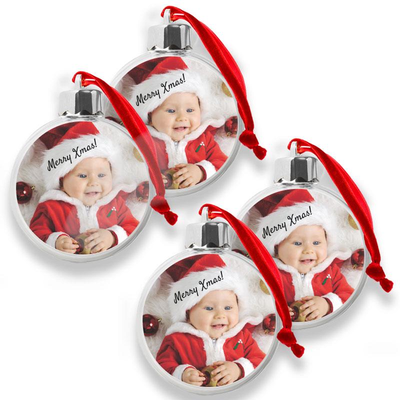 Doorzichtige kerstbal met naam en/of foto (4 stuks)