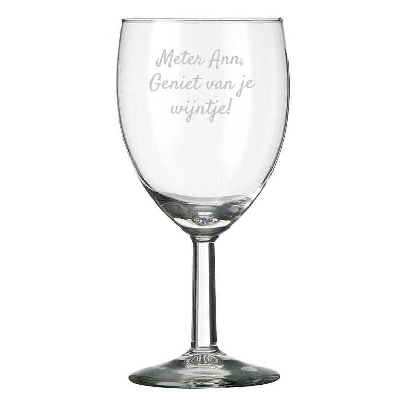Wijnglas rood met eigen tekst of naam