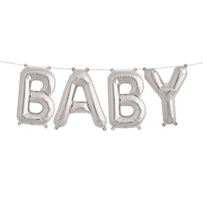 Folieballonnen kit - Baby zilver