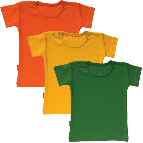 Set van 3 T-shirts met korte mouwen - 1-2 jaar (Groen, Geel, Oranje)