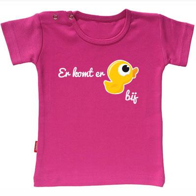 T-shirt Ik Word Grote Zus  - Er komt er eentje bij (Fuchsia 3-4j)