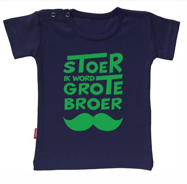 T-shirt - Stoer grote broer snor (Navy 1-2j)