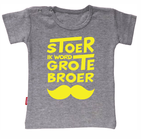 Uitzonderlijk T-shirt - Stoer ik word grote broer snor (Ashgrey 1-2j) | Babygoodies &HC76