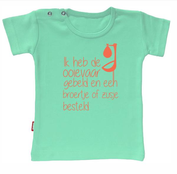 T-shirt - T-shirt - Ik heb de ooievaar gebeld en een broertje of zusje besteld (Mint 5-6j)