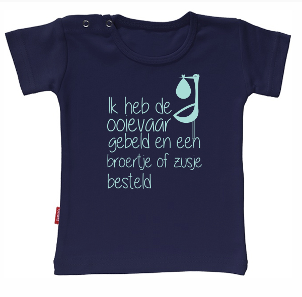 T-shirt Ik Word Grote Zus/Broer - Ik heb de ooievaar gebeld en een broertje of zusje besteld (Navy 1-2j)