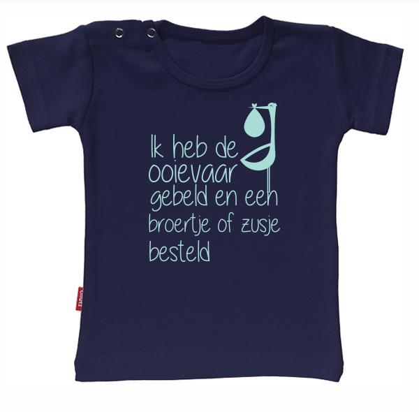 T-shirt Ik Word Grote Zus/Broer - Ik heb de ooievaar gebeld en een broertje of zusje besteld (Navy 5-6j)