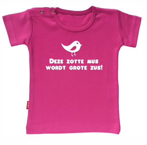 T-shirt Ik Word Grote Zus- Deze zotte mus wordt grote zus (Fuchsia 5-6j)