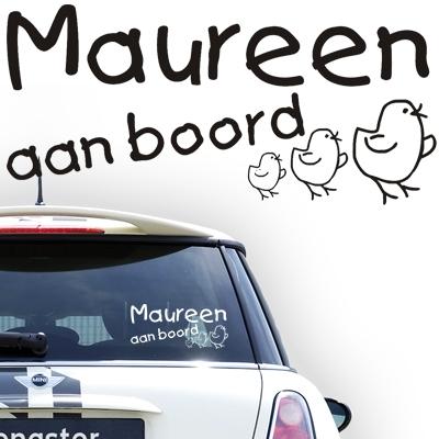 Personalized (baby) on board sticker, model 29