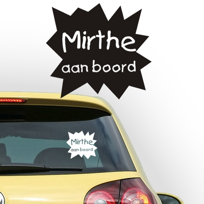Personalized (baby) on board sticker, model 36