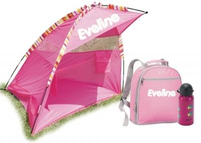 PROMO beachpack! Roze tent, rugzak en drinkbus met naam