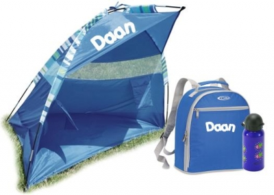 PROMO beachpack! Blauwe zonnetent, rugzak en drinkbus met naam