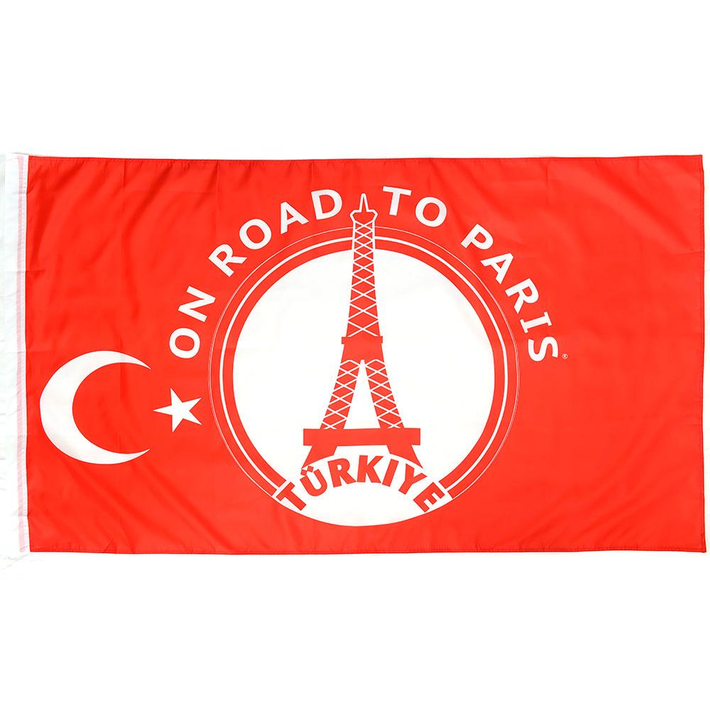Vlag 'On road to Paris' Turkije