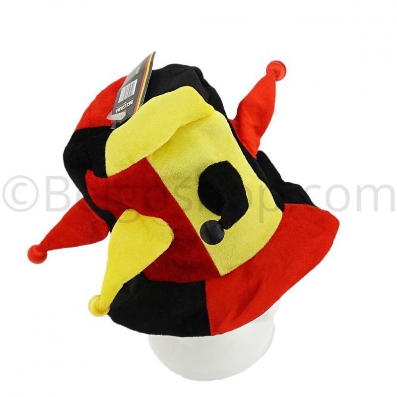 Narren hoed zwart geel rood