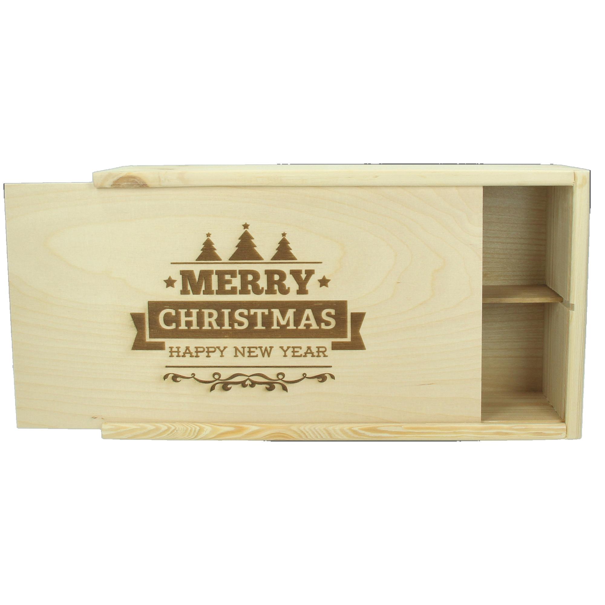 Kist gegraveerd met naam of tekst (2 flessen)