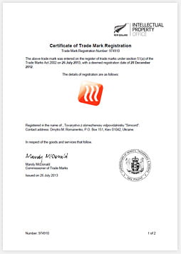 Country: New Zealand Registration number: 974910 Date received: 2013