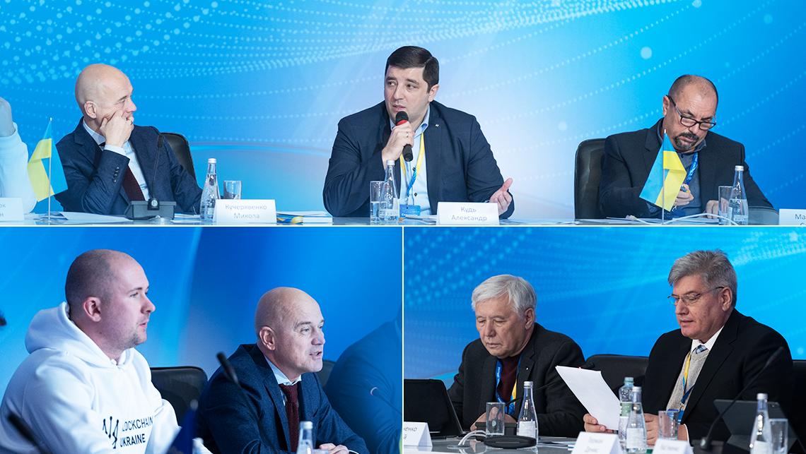 Модераторы круглого стола (А. Кудь, Н. Кучерявенко, Е. Смычок) и участники