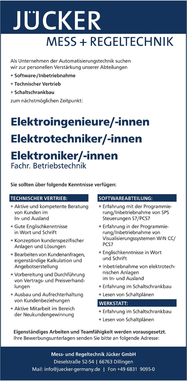 Elektroingenieur/in
