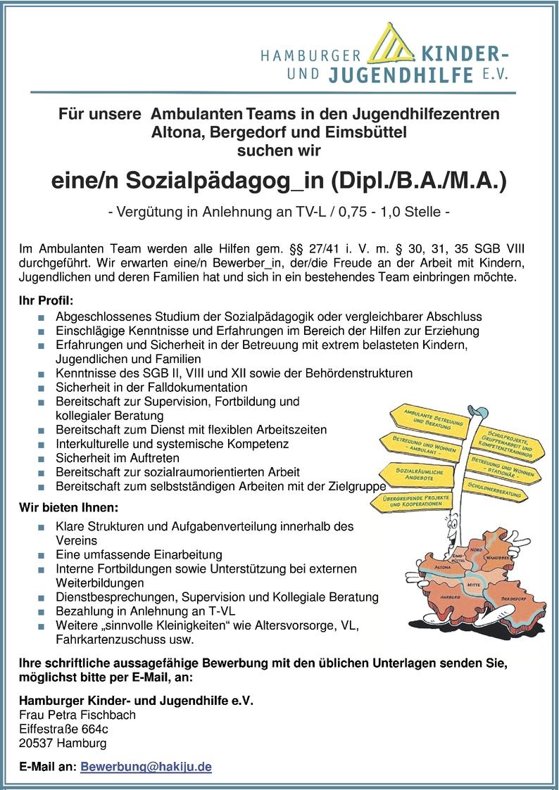Sozialpädagoge/-pädagogin in Hamburg