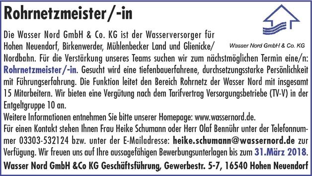Rohrnetzmeister/in