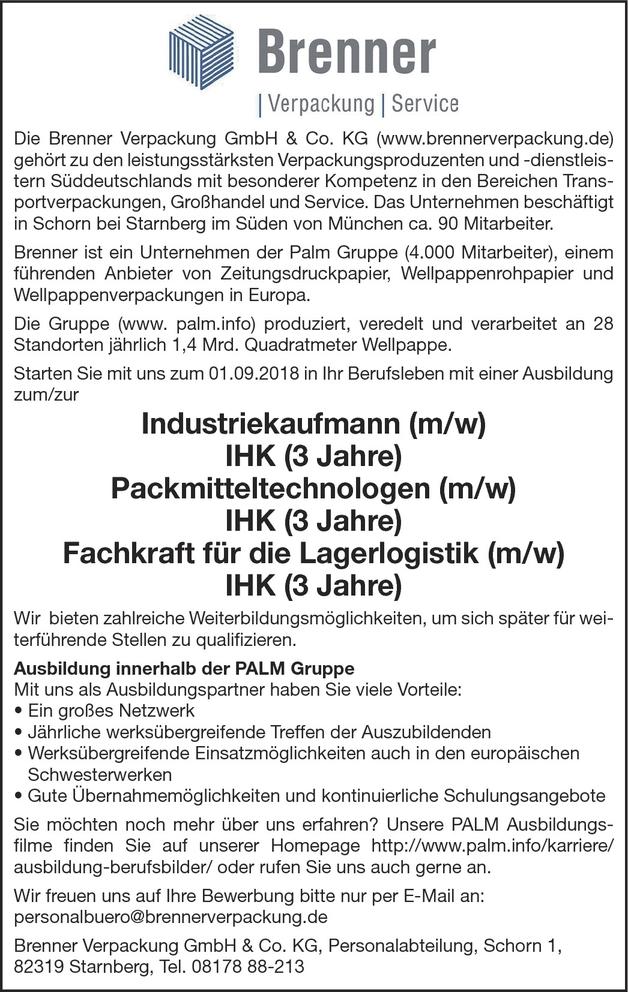 Ausbildung zum Packmitteltechnologe (m/w)