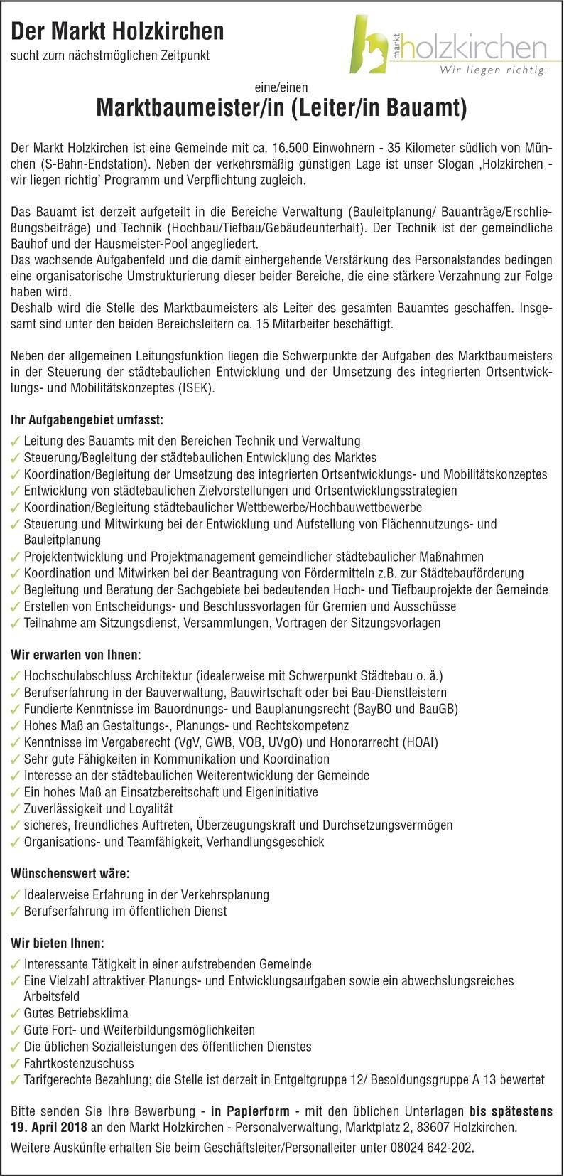 Bauleiter/in Architekt/in in Holzkirchen